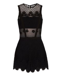 Alexis Gizela Embroidered Lace Romper: Deep keyhole back with concealed rear zip…