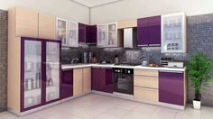 Purple kitchen cabinets