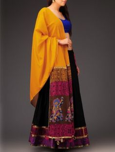 Yellow-Black Swiss-Dot Mehndi Motif Half-Saree Set