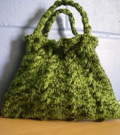 Green Cable Knit Bag - love this!