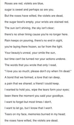 hi-im-jackson:  p0ntifex:  alll-you-need-is-llove:  fallenangellostsoul:  liesofdecember:  hopeless-addiction:  dementorsinmymind:  eccedenntesiast:  -loner:  This poem is written from the point of view of someone who has lost others to suicide.  I'm in tears..  this couldn't be more perfect.  So beautiful   perfect  This is perfect. I'm crying.    I'm tearing up…