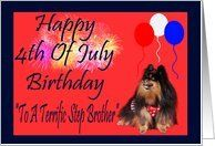 4th Of July Birthday to Step Brother, Pomeranian watching fireworks, balloons Card by Greeting Card Universe. $3.00. 5 x 7 inch premium quality folded paper greeting card. Fourth of July cards for the whole family are available at Greeting Card Universe. Show your loved ones you care with a custom paper card to celebrate Fourth of July. Let Greeting Card Universe help you find the best Fourth of July card this year. This paper card includes the following themes: Laurie77, 4th O...