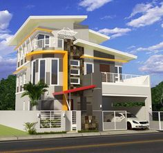 5 Bedrooms with master Den Room Bungalow House Design, Modern House Design, Modern Houses, Den Room, House Elevation, Facade House, Love Design, House Plans, Sweet Home