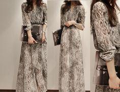 2013 New Fashion Chiffon Snake Print Long Sleeves Slim Look Lady Casual Maxi Dress Large Size free shipping drop shipping