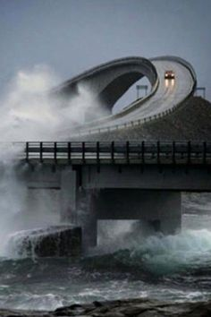 Atlantic Ocean road Norway.....looks like something from a dream. I would be terrified to drive on it