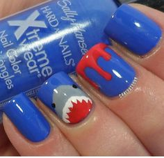 Apparently Jaws inspired nail art can be cute. 17 Pretty Incredible Nail Art Designs Inspired By Movies Simple Nail Art Designs, Gel Nail Designs, Cute Nail Designs, Easy Nail Art, Nails Design, Nail Designs For Kids, Nail Art Diy, Hard Nails, How To Do Nails