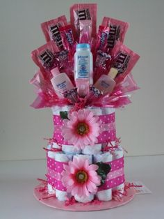 Diaper cake examples with candy