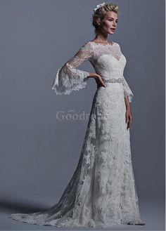 Robe de mariée traine a-ligne col bateau vintage naturel - photo 3