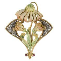 Art Nouveau Diamond, Ruby, Enamel and Gold Flower Pendant/Brooch | 1stdibs.com