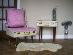 Upcycled furniture from suitcases. Genius. From lovenostalgicwhymsy on Etsy.