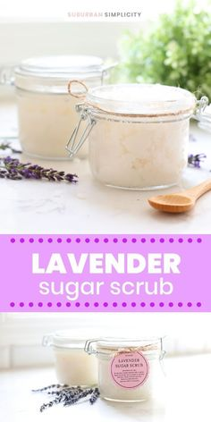 Here's the Best Lavender Sugar Scrub recipe to make at home. An easy, inexpensive, and very luxurious DIY! Perfect for homemade gift giving too! Made with natural ingredients like coconut oil and essentials oils. Sugar Scrub Recipe, Sugar Scrub Diy, Lavender Sugar Scrub, Young Living Oils, Fun Crafts For Kids, Home Made Soap, Body Butter, Homemade Gifts, Decor Crafts