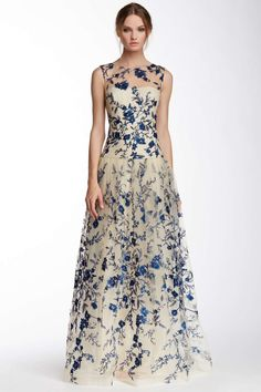 Marchesa Illusion Neck Floral Embroidered Gown
