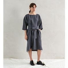 muku - Navy Striped Dress with Tie