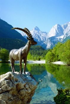 Goat statue, Lake Jasna, Slovenia - Why book a hotel when you can get more value from vacation rentals? Vist http:www://goldsuites.com #travel #topdestinations #vacationrentals