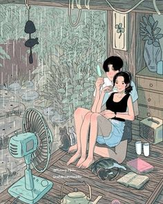 Find images and videos about love, art and illustration on We Heart It - the app to get lost in what you love. Cute Couple Drawings, Cute Couple Art, Cute Drawings, Art And Illustration, Korean Illustration, Cartoon Kunst, Anime Kunst, Cartoon Art, Aesthetic Anime