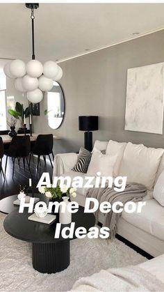 Black Sofa Living Room Decor, Black Bedroom Decor, Living Room White, Diy Bedroom Decor, Black And White Living Room Ideas, Modern Small Living Room, Wall Decor, Modern Minimalist Living Room, Beautiful Living Rooms
