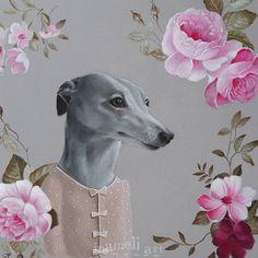 Greyhound Dog Art Acrylic Painting Greyhound by inameliart on Etsy