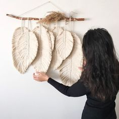 Excited to share this item from my shop: MACRAME FEATHERS macrame leaves Boho Macrame Wall Hanging Cotton Cord on a driftwood Perfect Cozy Home Wall Decor tribal wall ornament Diy Macrame Wall Hanging, Macrame Art, Macrame Design, Macrame Projects, Macrame Knots, Micro Macrame, Driftwood Macrame, Macrame Wall Hangings, Driftwood Wall Art