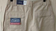 NWT CROFT & BARROW Mens Sz 32 Side Elastic Cargo Shorts Beige Cotton Relaxed…
