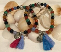 Multicolor Agate Beaded Boho Beach Bracelet (6mm) with Sterling Silver Beads Tassel and Silver Shell Charm by DreamCuff