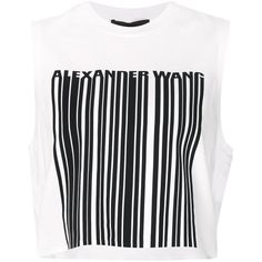 Alexander Wang Welded Barcode Tank Top (635 RON) ❤ liked on Polyvore featuring tops, crop top, shirts, tank tops, white, white cotton shirt, white crop top, cropped tops, white crop tank and cropped tank top