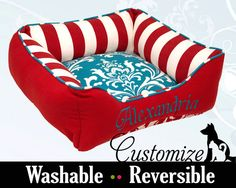Red and Turquoise Custom Dog Bed or Cat Bed  от AdoreCustomPetBeds
