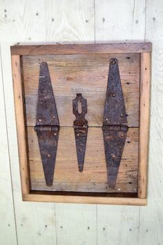 Reclaimed Wood and Rusty Strap Hinge Frame by BenchandCrate
