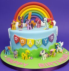 my little pony cake Cumple My Little Pony, Rainbow Dash Cake, My Little Pony Cupcakes, My Little Pony Birthday Party, 4th Birthday Cakes, Cake Name, Party Cakes, Cookies, Fondant
