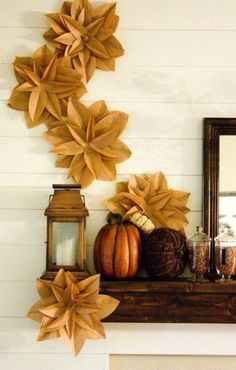 Brown Paper Bag Flowers - fun fall decoration for mantlel? Fall Crafts, Holiday Crafts, Diy And Crafts, Paper Crafts, Diy Paper, Holiday Fun, Holiday Ideas, Paper Bag Flowers, Diy Flowers