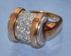 Bague Art déco Or platine et diamants