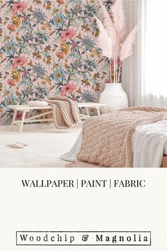 Wallpaper - Onism First Light Pink Botanical Wallpaper, Statement Wall, Eclectic Design, Fabric Online, Fabric Painting, Designer Wallpaper, Wall Murals, Home Accessories, Layouts