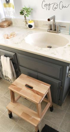 You searched for black white bathroom - Page 4 of 5 - Copy Cat Chic Bekvam Stool, Ikea Bekvam, Kitchen Redo, Kitchen And Bath, Ikea Step Stool, Kids Bathroom Accessories, Black White Bathrooms, Copy Cat Chic, Grey Cabinets