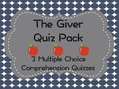 This .pdf includes three different comprehension quizzes and corresponding key for the dystopian novel, The Giver. I use these quizzes every year as a quick comprehension check as my students read the novel. The .pdf file comes with the following:-Chapter