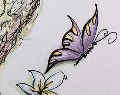 ein Lächeln, ein Zwinkern oder nur der zarte Windhauch des Schmetterlingflügels  der sich wie im tanze wiegenden um eine Blume dreht... Oder: Schmetterling lila mit Blume blau