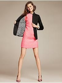 Piped Neon Floral Shift paired with Sleek Suit Blazer from Banana Republic
