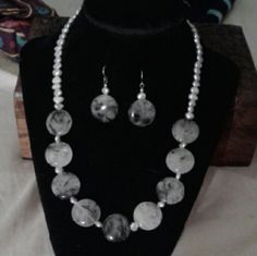 "XMAS SALE! ,Tourmalinated Quartz Nk/Er 925SS BEAUTIFUL, New...One of a Kind, Artisan Handcrafted *Tourmalinated Quartz* Nk w/ Freshwater Silver Pearls in S/P & Tourmalinated Quartz w/Freshwater Silver Pearl Earrings Set in 925 Sterling Silver...Nk is 17 1/4"" + 2"" Extender, Earrings 1 1/4"". *Tourmalinated Quartz is a Clear, Off White Quartz Which Has Pieces of Black Tourmaline Within it...These Crystals Are Said to Have Strong Metaphysical Properties!... Comes With a Packaged, Anti- Tarnish…"