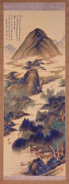 TANOMURA, Chokunyu  Paesaggio primaverile e paesaggio estivo (Shunka sansui zu)  1901 (primavera) - 1903 (estate)  colore su seta  dittico di rotoli verticali  138.4 x 51.2 (primavera)  137.5 x 52.3 (estate)  The National Museum of Modern Art, Kyoto