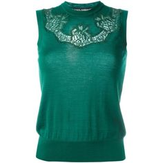 Dolce & Gabbana Lace Insert Top (4.295.375 COP) ❤ liked on Polyvore featuring tops, green, green sleeveless top, blue sleeveless top, sleeveless tops, blue green tops and lace inset top