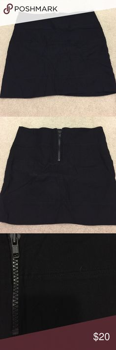 Black Mini-Skirt w/ Chunky Zipper Cute, tight, mini skirt with tiered stitching. (See third photo) Back closure is a chunky zipper. Super cute. Worn once! Offers welcome mandee Skirts Mini