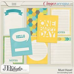 Free Must Have Journaling Cards from Just Because Studio for Gingersnaps {forum registration required}