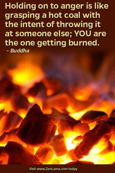 Holding on to anger is like grasping a hot coal with the intent of throwing it at someone else; YOU are the one getting burned. ~Buddha | zenlama.com