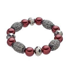Croft & Barrow® Raspberry Beaded Station Stretch Bracelet, Women's, Red
