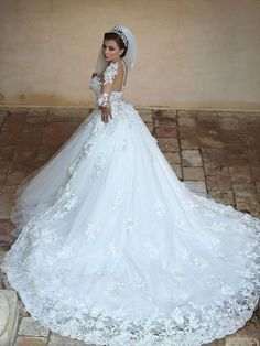Ball Gown Sheer Neck Lace Long Sleeves Asymmetrical Tulle Wedding Dresses