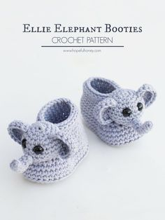 crochet elephant pattern Ellie The Elephant Baby Booties Crochet Pattern - Hopeful Honey- Ellie der Elefant Baby Booties Hkelanleitung - hoffnungsvoll Booties Crochet, Crochet Slippers, Crochet Sandals, Hat Crochet, Crochet Cardigan, Crochet Baby Clothes, Crochet Baby Shoes, Crochet Baby Blanket Beginner, Baby Knitting