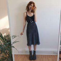 Pretty polkadot dress, simple flattering style with adjustable spaghetti straps and slim fitting shape. Two layers of fabric, one is a semi sheer/ mesh polkadot layer, which looks pretty as you move. Will best fit size 12, is a little loose on a size 8-10 but can be worn with a belt like in the pics I'm away at a festival this weekend, so next post will be next Monday!! Sorry for any inconveniences