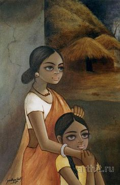 Mother and daughter Sandhya Shetty Impressionism Oil paintings - Mother and daughter Sandhya Shetty Impressionism Oil paintings - Watercolor Art Face, Watercolor Painting Techniques, Art And Illustration, Om Namah Shivaya, Indian Art Paintings, Oil Paintings, Phad Painting, Indian Folk Art, Mini Canvas Art