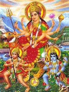 Indian Goddess Durga, Indian Gods Shiva & the monkey god that I forgot his name...