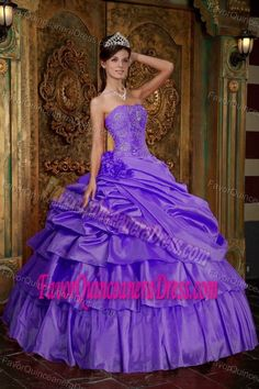 Stylish Purple Taffeta Quinceaneras Dress with Flowers and Beads on Sale