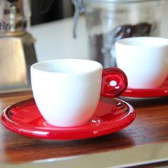 set of 2 red guzzini espresso cups & saucers by Guzzini | mediterraneo