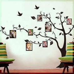 Living Room Wall Decals Large Black Photo Picture Frame Tree Vine Branch  Removable Wall Decor